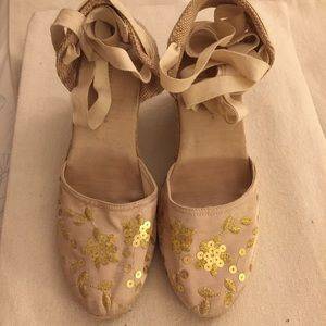 Montego Bay Club Wedge Gold Sequins Espadrilles